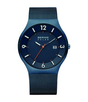 BERING Solar Collection Quartz Blue Men's Watch With Mesh Band 14440-393