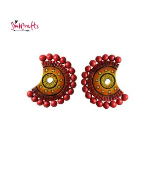 Terracotta Big Stud Earrings With Red Beads