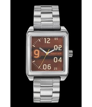 Fastrack Brown Dial Stainless Steel Strap Watch 3164SM02