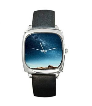 Nebula Galaxy Outer Space Scenery Shark Square Metal Watch-B01F1N2PLM