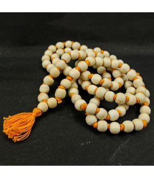 WHITE NEEM BEADS XL SIZE ( SAFFRON THREAD)